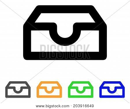Account Box icon. Vector illustration style is a flat line iconic account box symbol with black, grey, green, blue, yellow color versions. Designed for web and software interfaces.
