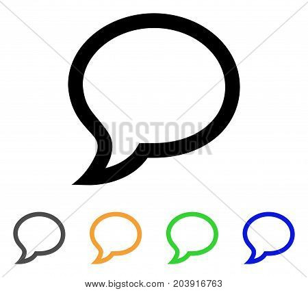 Chat Message icon. Vector illustration style is a flat contour iconic chat message symbol with black, gray, green, blue, yellow color variants. Designed for web and software interfaces.