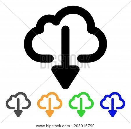 Cloud Download icon. Vector illustration style is a flat linear iconic cloud download symbol with black, gray, green, blue, yellow color variants. Designed for web and software interfaces.