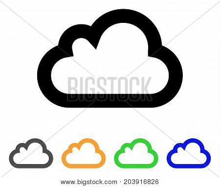 Cloud icon. Vector illustration style is a flat contour iconic cloud symbol with black, grey, green, blue, yellow color versions. Designed for web and software interfaces.