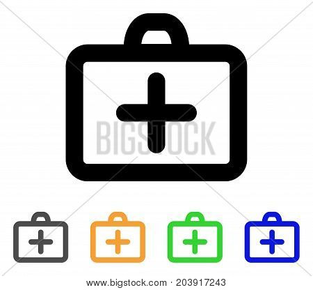 First Aid icon. Vector illustration style is a flat stroke iconic first aid symbol with black, gray, green, blue, yellow color variants. Designed for web and software interfaces.