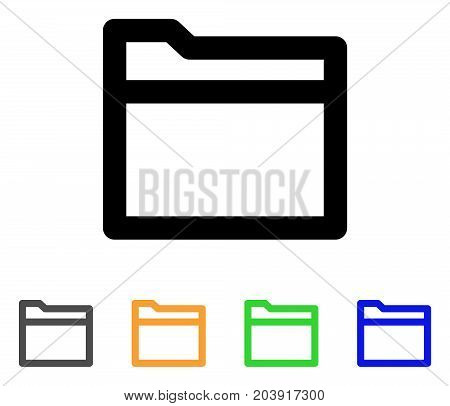 Folder icon. Vector illustration style is a flat linear iconic folder symbol with black, gray, green, blue, yellow color variants. Designed for web and software interfaces.