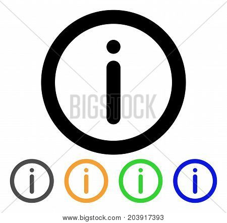 Info icon. Vector illustration style is a flat stroke iconic info symbol with black, grey, green, blue, yellow color versions. Designed for web and software interfaces.