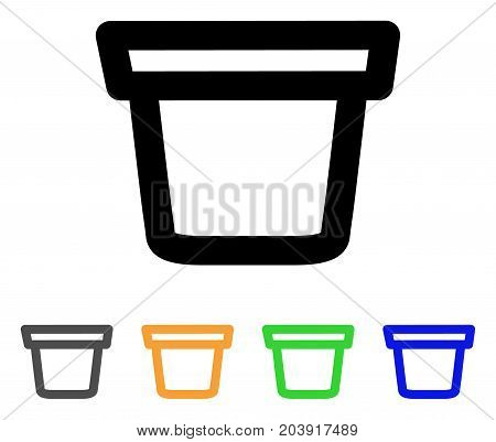 Pail icon. Vector illustration style is a flat stroke iconic pail symbol with black, gray, green, blue, yellow color variants. Designed for web and software interfaces.