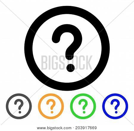 Question icon. Vector illustration style is a flat line iconic question symbol with black, grey, green, blue, yellow color versions. Designed for web and software interfaces.