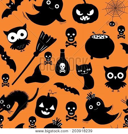 Cute Halloween vector seamless pattern with ghosts cats and pumpkins on orange background color for scrapbooking and invitations