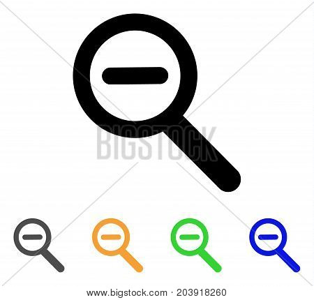Zoom Out icon. Vector illustration style is a flat contour iconic zoom out symbol with black, grey, green, blue, yellow color versions. Designed for web and software interfaces.