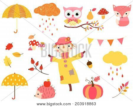Cute autumn set in warm colors with animal characters scarecrow and fall design elements for kids and babies