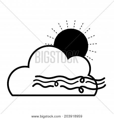 contour nice sun with cloud and fresh wind weather vector illustration