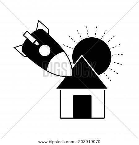 contour sun and rocket crashed with the roof house vector illustration