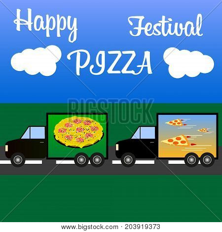 trucks consecutively carry a lot of different fast food stuff and a multinational pizza for the pizza festival