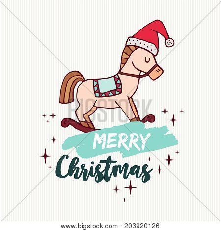 Christmas Rocking Horse Toy Holiday Cartoon Card