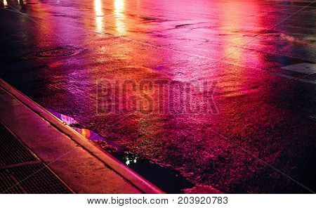 Nyc Streets After Rain With Reflections On Wet Asphalt