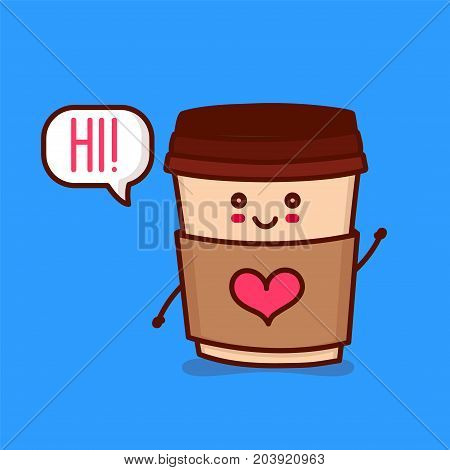 Cute happy smiling paper coffee cup with heart say hi! Vector modern line outline flat style cartoon character illustration. Isolated on blue background. Concept for card, cafe, coffee to go
