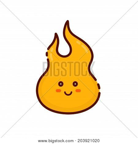 Cute happy smiling tongue of flame logo icon. Vector modern line outline flat style cartoon fire character illustration. Isolated on white background