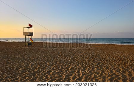 Beach tower for lifeguard inthe early morning