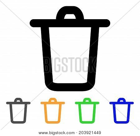 Bucket icon. Vector illustration style is a flat linear iconic bucket symbol with black, grey, green, blue, yellow color variants. Designed for web and software interfaces.
