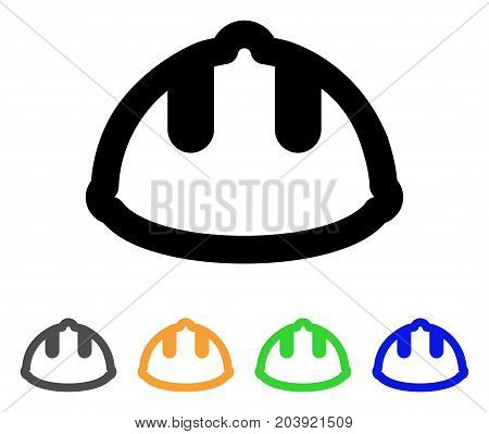 Builder Helmet icon. Vector illustration style is a flat stroke iconic builder helmet symbol with black, gray, green, blue, yellow color variants. Designed for web and software interfaces.