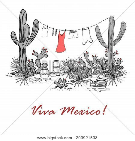 Funny hand drawn illustraytion with jars, saguaro, blue agave, prickly pear, and laundry hanging on a clothesline. Latin American background. Mexican landscape. Viva Mexico Vector.