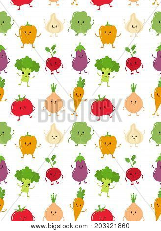 Cute happy smiling raw vegetable collection set vector seamless pattern vector flat character illustration icon.Carrot, tomato, onion, eggplant, garlic, broccoli, cabbage, pepper, radish