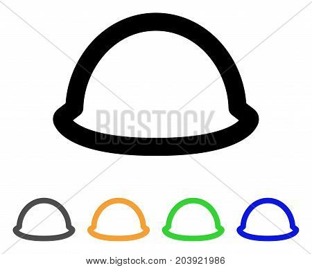 Hardhat icon. Vector illustration style is a flat stroke iconic hardhat symbol with black, gray, green, blue, yellow color variants. Designed for web and software interfaces.