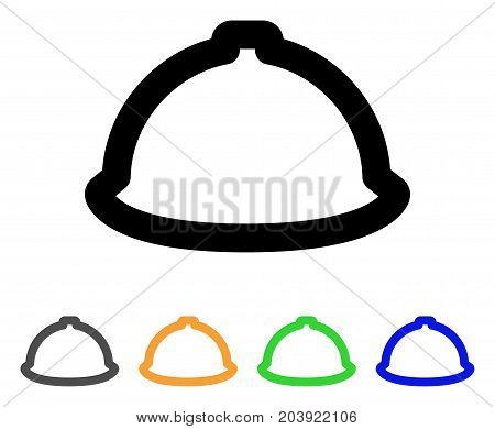 Helmet icon. Vector illustration style is a flat stroke iconic helmet symbol with black, grey, green, blue, yellow color versions. Designed for web and software interfaces.