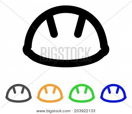 Helmet icon. Vector illustration style is a flat stroke iconic helmet symbol with black, grey, green, blue, yellow color variants. Designed for web and software interfaces.