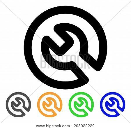 Install icon. Vector illustration style is a flat contour iconic install symbol with black, gray, green, blue, yellow color variants. Designed for web and software interfaces.