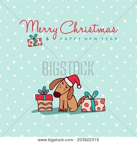 Christmas And New Year Cute Puppy Cartoon Card
