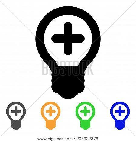 Medical Bulb icon. Vector illustration style is a flat stroke iconic medical bulb symbol with black, grey, green, blue, yellow color versions. Designed for web and software interfaces.