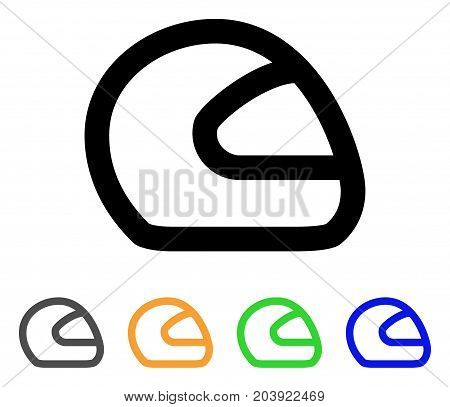 Motorcycle Helmet icon. Vector illustration style is a flat line iconic motorcycle helmet symbol with black, grey, green, blue, yellow color versions. Designed for web and software interfaces.