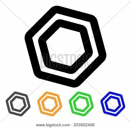 Screw Nut icon. Vector illustration style is a flat linear iconic screw nut symbol with black, grey, green, blue, yellow color variants. Designed for web and software interfaces.