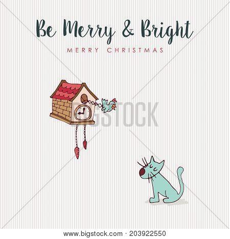 Christmas Fun Cat And Bird Hooliday Cartoon Card