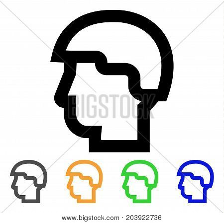 Warrior Head icon. Vector illustration style is a flat contour iconic warrior head symbol with black, gray, green, blue, yellow color variants. Designed for web and software interfaces.