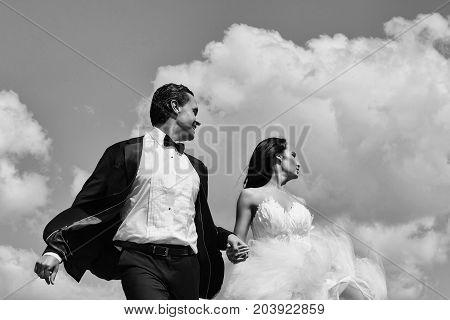 Wedding Couple On Blue Sky