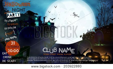 Flyer Or Invitation Template For Halloween Party. Vector Illust