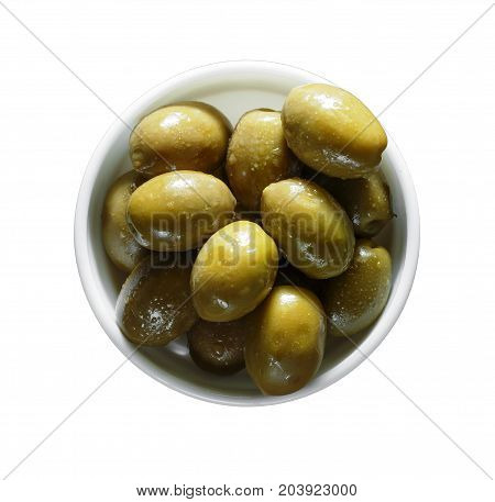 Marinated Olives Isolated On A White Background, Top View