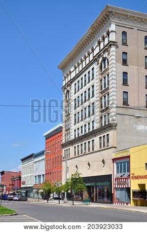 WATERTOWN, NY, USA - AUG. 16, 2012: Historic Buildings in Public Square in downtown Watertown, Upstate New York, USA.