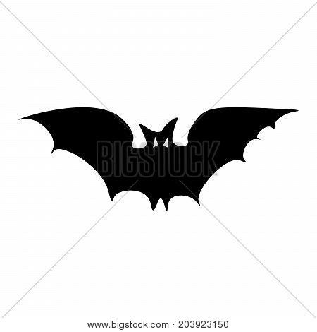 Silhouette of the long-eared Bat. Halloween flying bat on white background. Flat design Vector Illustration