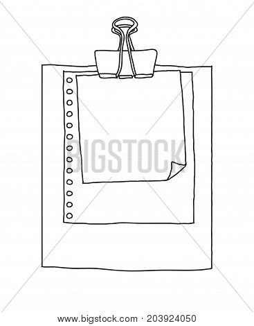 note paper hand drawn background vector line art illustration