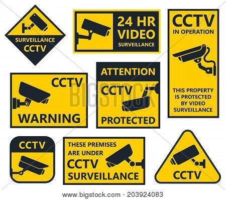 security camera sign, cctv stickers, video surveillance