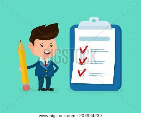 Happy smiling businessman with pencil,clipboard,checklist. Vector modern flat style cartoon character illustration. Isolated on white background. Business success completed plan concept