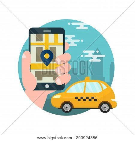 App for taxi.Man holds hand with smarthone.Application for calling taxi.Yellow car on the city map,cab,mobile phone with map and big city on background,taxi service concept.vector flat illustration