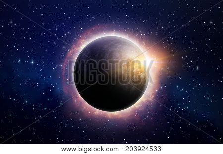 Full eclipse of the sun surrounded by solar flares in deep space