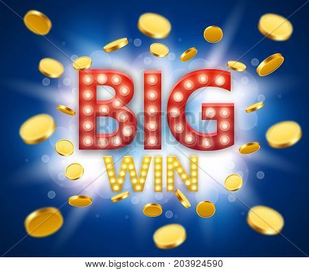 Big Win gambling games banner with big win inscription and gold explosion of coins. Vector illustration