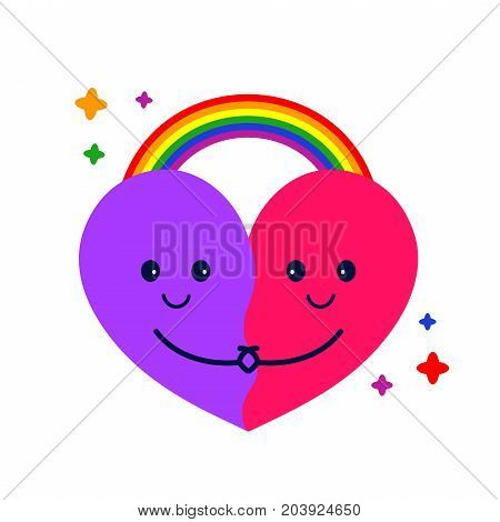 Cute heart hug and rainbow. Vector modern flat style cartoon character illustration icon design.Isolated on white background. Lgbt, pride, gay logo concept sticker