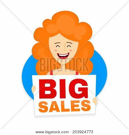 Happy cute smiling red woman with big sale nameplate. Vector modern flat style cartoon character illustration. Isolated on white background. Big sales inscription, special offer concept