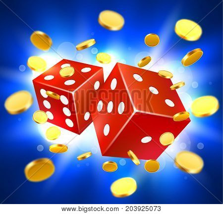 Two dices, surrounded by a luminous frame and coin explosion. Luck banner. casino concept. Vector illustration