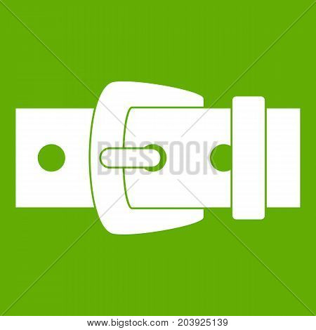 Black metal belt buckle icon white isolated on green background. Vector illustration