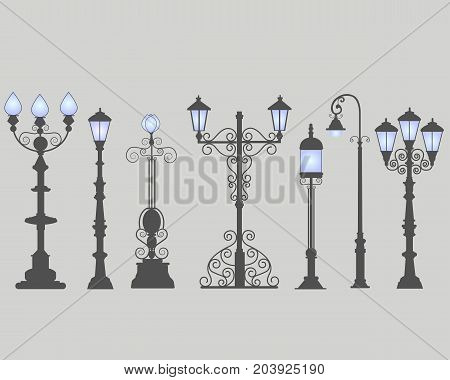Collection of seven street lamps isolated gray background. Figured forged street lights. Vector design classic lamps. Set street decorative forging blue light.